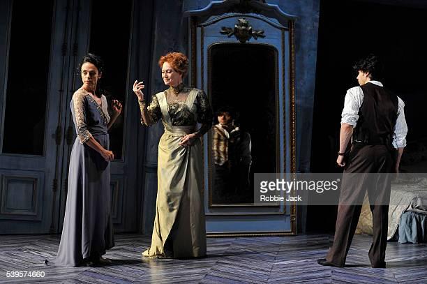 Alessandra Ferri as Léa Francesca Annis as Charlotte and Herman Cornejo as Chéri in Martha Clarke's Chéri at the Linbury Studio Theatre Royal Opera...