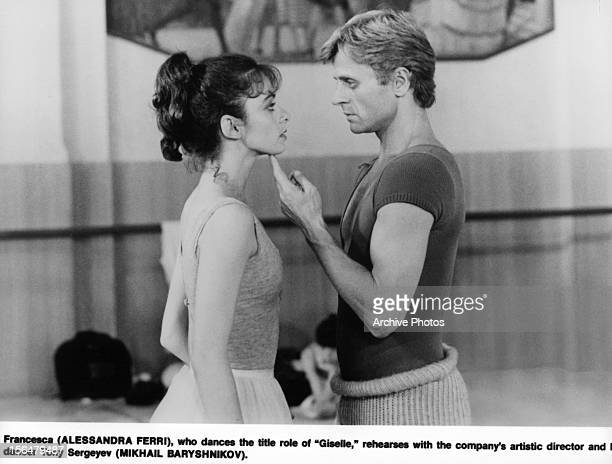 Alessandra Ferri is guided by Mikhail Baryshnikov in a scene from the film 'Dancers' 1987