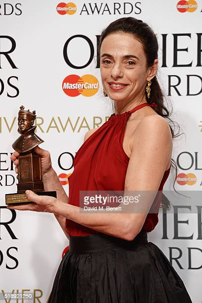 Alessandra Ferri winner of the Outstanding Achievement in Dance award for Cheri and Woolf Works poses in the Winners Room at The Olivier Awards with...