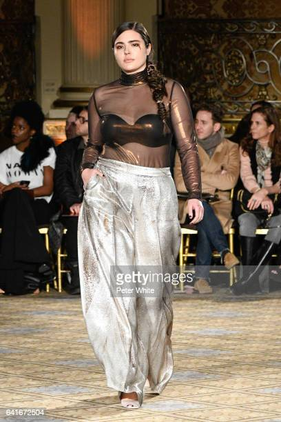Alessandra Garcia Lorido walks the runway after Christian Siriano collection during New York Fashion Week at The Plaza Hotel on February 11 2017 in...