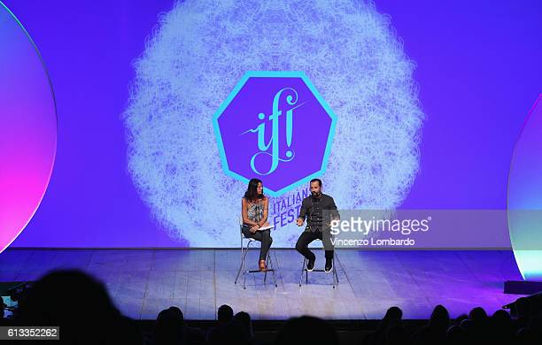 Alessandra Lanza and Fabio Volo speak onstage during the IF Italians Festival 2016 at Franco Parenti Theater on October 8 2016 in Milan Italy