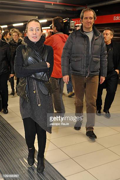 Alessandra Marchi and Giovanni Terzi attend The First Fashion Show On A Metro Train during Milan Fashion Week Womenswear Autumn/Winter 2011 on...