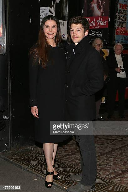 Alessandra Martines and Cyril Descours arrive to attend the concert of Carla Bruni at Olympia hall on March 11 2014 in Paris France