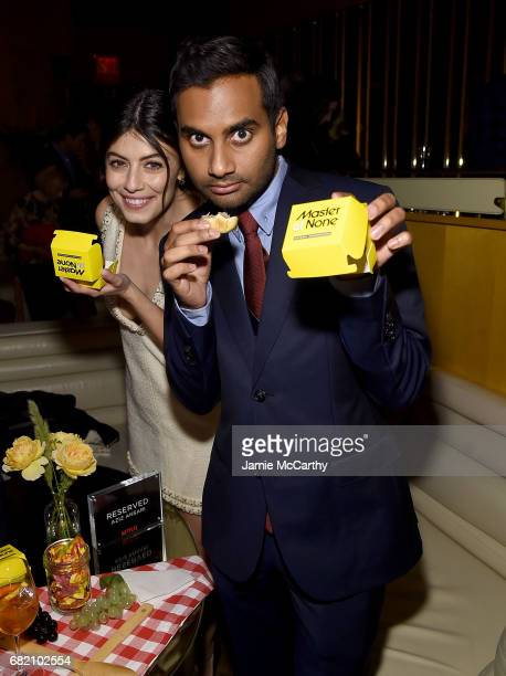 Alessandra Mastronardi and Aziz Ansari attend the Master Of None Season 2 Premiere After Party at The Top of The Standard on May 11 2017 in New York...