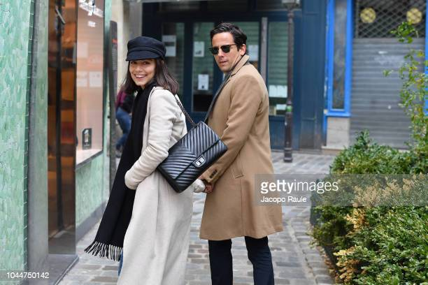 Alessandra Mastronardi and Ross McCall are seen on October 2 2018 in Paris France
