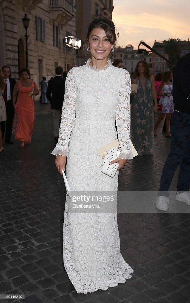 Alessandra Mastronardi attends the Valentinos 'Mirabilia Romae' haute couture collection fall/winter 2015 2016 at Piazza Mignanelli on July 9, 2015 in Rome, Italy.