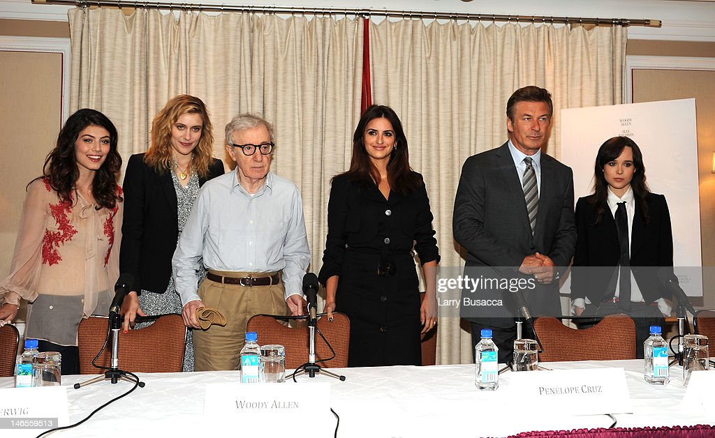 Alessandra Mastronardi, Greta Gerwig, Woody Allen, Penelope Cruz, Alec Baldwin and Ellen Page attend the 'To Rome With Love' Press Conference on June 19, 2012 in New York City.