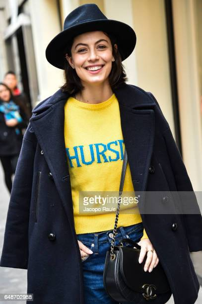 Alessandra Mastronardi is seen during the Paris Fashion Week Womenswear Fall/Winter 2017/2018 on March 6 2017 in Paris France