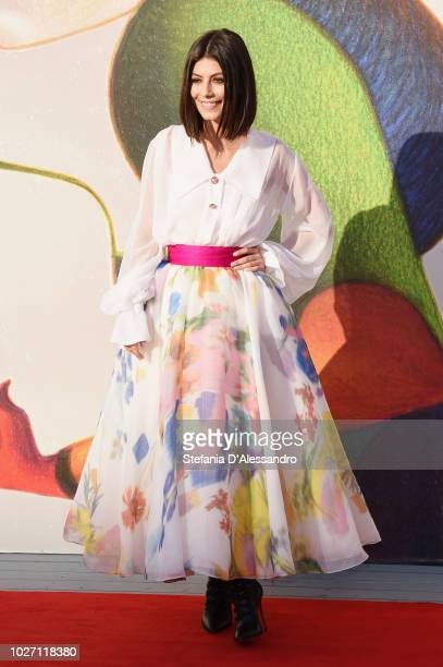 Alessandra Mastronardi walks the red carpet ahead of the L'Annee Derniere a Marienbad screening during the 75th Venice Film Festival at Sala Giardino...