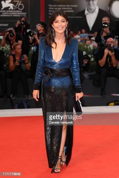 Alessandra Mastronardi walks the red carpet ahead of the Martin Eden screening during the 76th Venice Film Festival at Sala Grande on September 02...