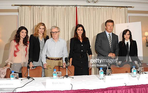 Alessandra MastronardiGreta Gerwig Woody Allen Penelope Cruz Alec Baldwin and Ellen Page attend the 'To Rome With Love' Press Conference on June 19...