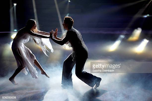 Alessandra MeyerWoelden and Sergiu Luca perform on stage during the 7th show of the television competition 'Let's Dance' at Coloneum on April 29 2016...