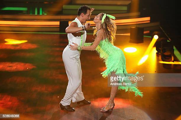 Alessandra MeyerWoelden and Sergiu Luca perform on stage during the 8th show of the television competition 'Let's Dance' on May 6 2016 in Cologne...