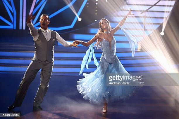 Alessandra MeyerWoelden and Sergiu Lucaper form on stage during the 1st show of the television competition 'Let's Dance' on March 11 2016 in Cologne...