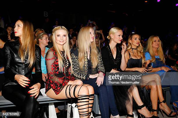 Alessandra MeyerWoelden Anna Hiltrop and Mirja du Mont are sitting in the front row at the Dimitri show during the MercedesBenz Fashion Week Berlin...