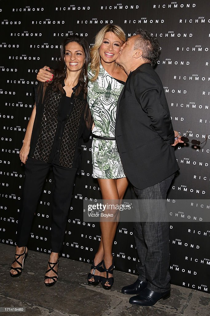 Alessandra Moschillo, Maddalena Corvaglia and Saverio Moschillo attend the John Richmond show during Milan Menswear Fashion Week Spring Summer 2014 show on June 24, 2013 in Milan, Italy.