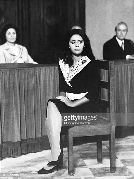 Alessandra Mussolini in the shoes of Pupetta Maresca during the evidence in court in a scene from the TV movie 'Pupetta Maresca a chronicle of a...