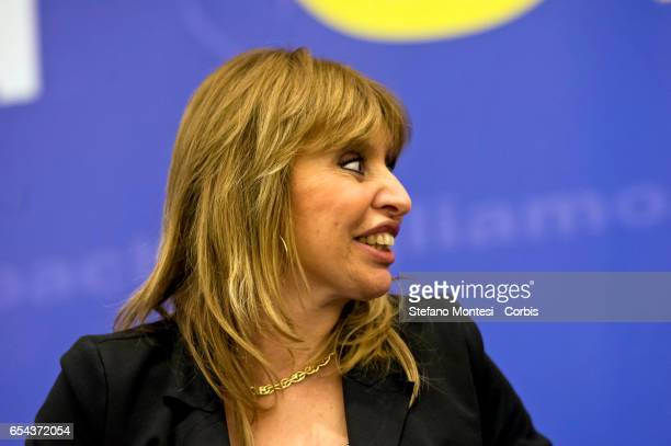 Alessandra Mussolini MEP Forza Italy during convention of Forza Italia 'Rome Italy and Europe that we want' on March 29 2015 in RomeItaly