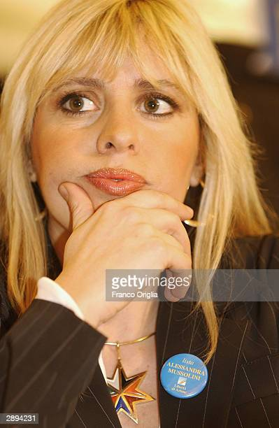 Alessandra Mussolini promotes her new rightwing party 'Alternativa Sociale' at the Bar Gambrinus on January 23 2003 in Naples Italy