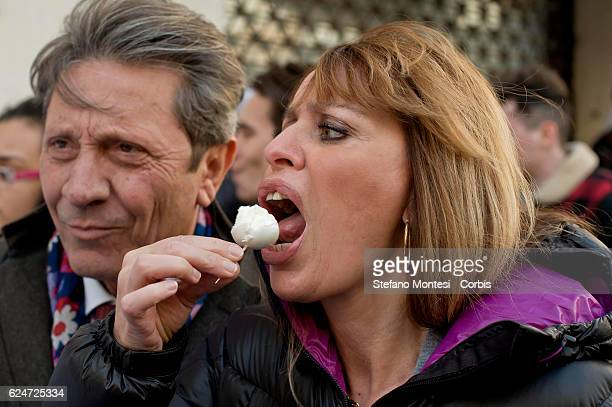 Alessandra Mussolini senator of Forza Italy tastes buffalo mozzarella as the association of veterinary of Campania demonstrates in front of...