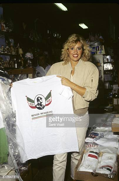Alessandra Mussolini with il Duce Tshirt on September 10 1996 in New York New York