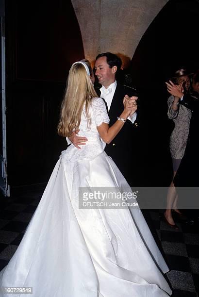 Alessandra Passerin D'entrèves Marries Jacques De Crussol D'uzes A Uzès ALESSANDRA PASSERIN D'ENTREVES et JACQUES DE CRUSSOL D'UZES en habits de...