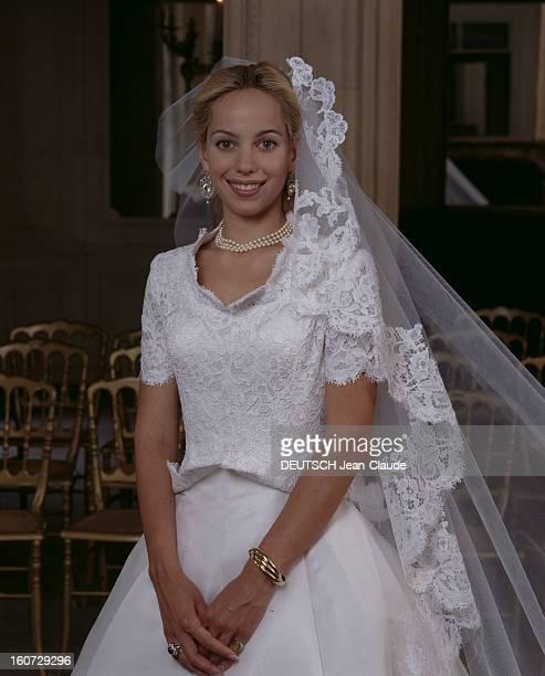 Alessandra Passerin D'entrèves Says Yes To Count Jacques De Crussol D'uzes ALESSANDRA PASSERIN D'ENTREVES en robe de mariée DIOR CONCUE PAR...