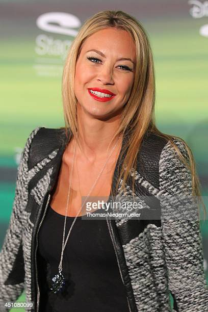 Alessandra Pocher attends the green carpet arrivals for the Stuttgart Premiere of the musical 'Tarzan' at Stage Apollo Theater on November 21 2013 in...