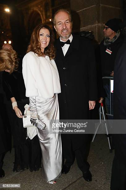 Alessandra Repini and Arturo Artom arrive at the Teatro alla Scala Season 2016/17 opening at Teatro Alla Scala on December 7 2016 in Milan Italy