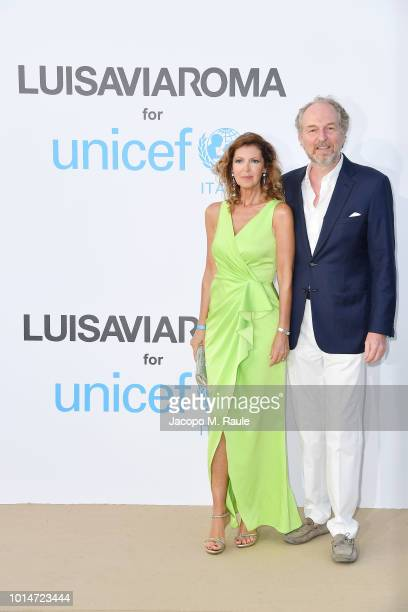 Alessandra Repini and Arturo Artom attend a photocall for the Unicef Summer Gala Presented by Luisaviaroma at Villa Violina on August 10 2018 in...