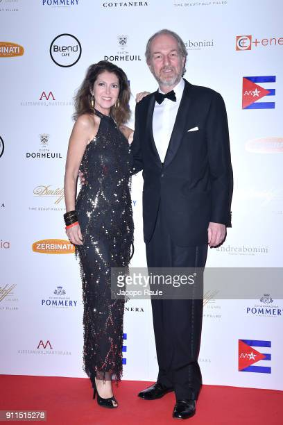 Alessandra Repini and Arturo Artom attend the Alessandro Martorana Party on January 28 2018 in Milan Italy
