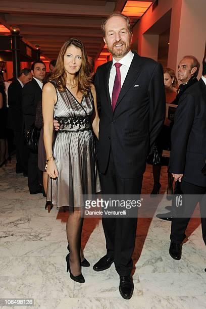 Alessandra Repini and Arturo Artom attend The Bulgari Express for Save The Children Cocktail Party at the Salone delle Fontane on November 3 2010 in...