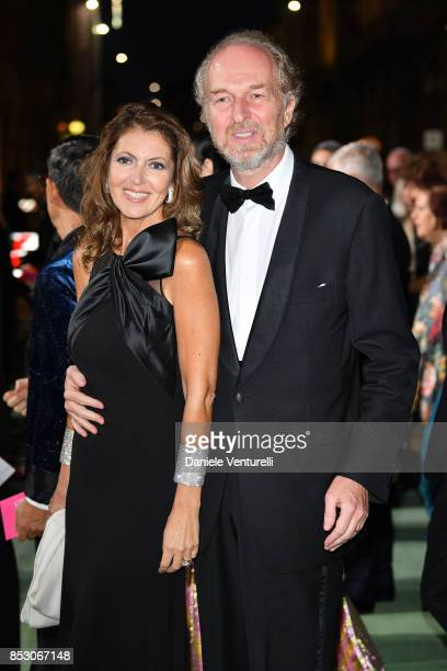 Alessandra Repini and Arturo Artom attend the Green Carpet Fashion Awards Italia 2017 during Milan Fashion Week Spring/Summer 2018 on September 24...