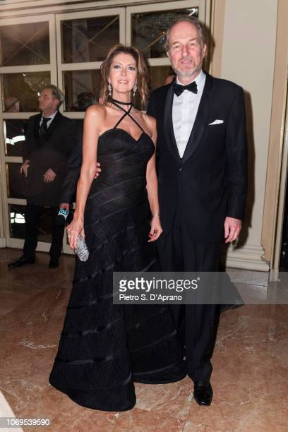 Alessandra Repini and Arturo Artom attend the 'Prima Alla Scala' at Teatro Alla Scala on December 7 2018 in Milan Italy