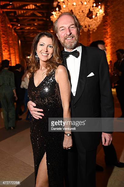 Alessandra Repini and Arturo Artom attend the Venetian Heritage And Bulgari Gala Dinner at Cipriani Hotel on May 9 2015 in Venice Italy