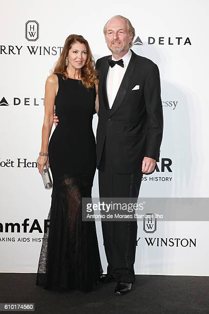 Alessandra Repini and Arturo Artom walk the red carpet of amfAR Milano 2016 at La Permanente on September 24 2016 in Milan Italy