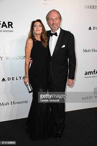 Alessandra Repini and Arturo Artom walks the red carpet of amfAR Milano 2016 at La Permanente on September 24 2016 in Milan Italy