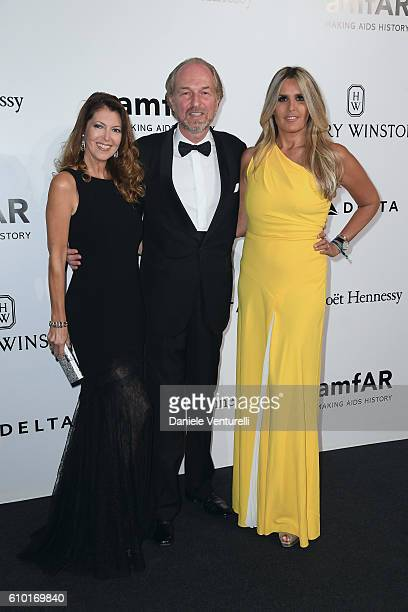 Alessandra Repini Arturo Artom and Tiziana Rocca walk the red carpet of amfAR Milano 2016 at La Permanente on September 24 2016 in Milan Italy
