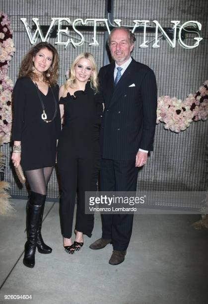 Alessandra Repini Delia Fischer and Arturo Artom attend the 'Westwing' launch party on March 1 2018 in Milan Italy