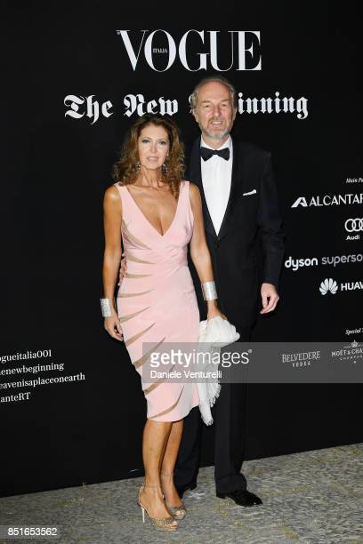Alessandra Repini nand Arturo Artom attend the Vogue Italia 'The New Beginning' Party during Milan Fashion Week Spring/Summer 2018 on September 22...