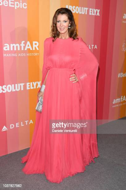 Alessandra Repini walks the red carpet ahead of amfAR Gala at La Permanente on September 22 2018 in Milan Italy