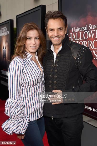 Alessandra Rosaldo and Eugenio Derbez attend Halloween Horror Nights Opening Night Red Carpet at Universal Studios Hollywood on September 15 2017 in...