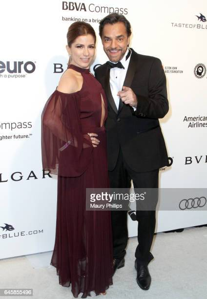 Alessandra Rosaldo and Eugenio Derbez attend the 25th annual Elton John AIDS Foundation's Oscar Viewing Party Arrivals at The City of West Hollywood...