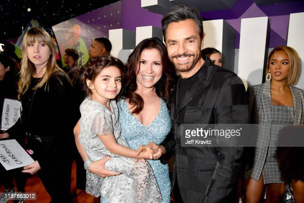 Alessandra Rosaldo Eugenio Derbez and a guest attend Nickelodeon's 2019 Kids' Choice Awards at Galen Center on March 23 2019 in Los Angeles California