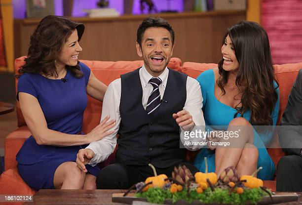 Alessandra Rosaldo Eugenio Derbez and Chiquinquira Delgado are seen on the set of Despierta America for simulcast with 'Good Morning America' and...