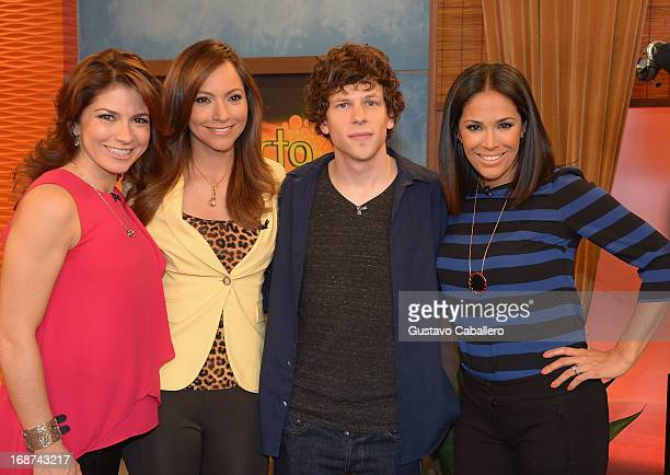 Alessandra Rosaldo Satcha Pretto Jesse Eisenberg and Karla Martinez visits Univisions Despierta America to promote film 'Now you See Me' at Univision...
