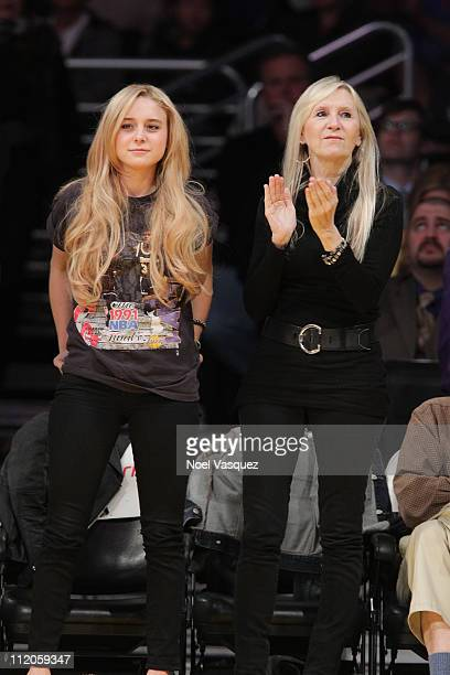 Alessandra Torresani and her mother attend the game between between the Oklahoma City Thunder and the Los Angeles Lakers at Staples Center on April...