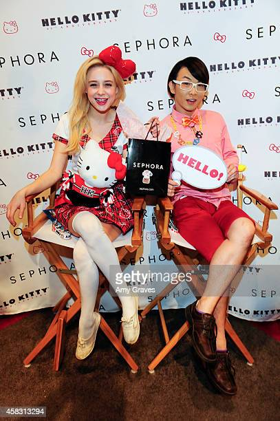 Alessandra Torresani and Onch Movement attend Sephora's First Ever Hello Kitty Beauty Shop at Hello Kitty Con on November 2 2014 in Los Angeles...