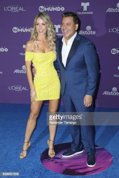 Alessandra Villegas and Daniel Sarcos arrive at Telemundo's 2017 'Premios Tu Mundo' at American Airlines Arena on August 24 2017 in Miami Florida