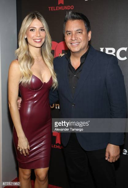 Alessandra Villegas and Daniel Sarcos attend the NBCUniversal International Offsite Event at LIV Fontainebleau on November 9 2017 in Miami Beach...